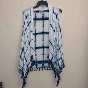Tie dye vest with Pom poms